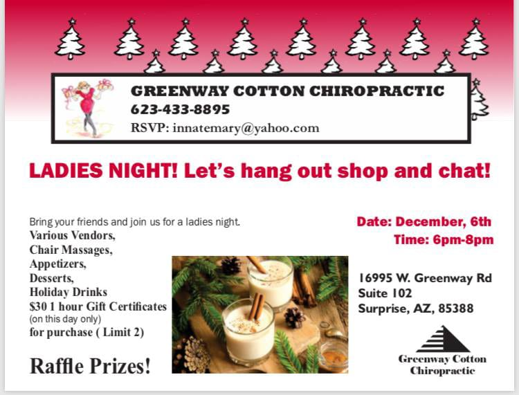 Upcoming Events at Greenway Cotton Chiropractic and Body Harmony Massage