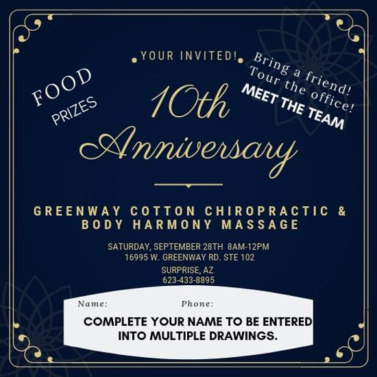 10th Anniversaty at Greenwood Cotton Chiropractic and Body Harmony Massage