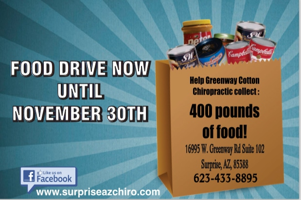 Food Drive at Greenway Cotton Chiropractic and Body Harmony Massage in Surprise AZ